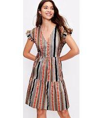 loft petite striped henley ruffle sleeve dress
