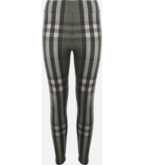 burberry jersey leggings with all-over tartan motif