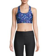 terez women's printed sports bra - blue - size xs