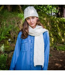 ladies' cashmere blend aran hat & scarf set cream one size
