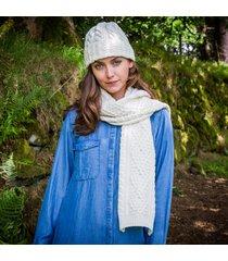 ladies' cashmere blend aran hat & scarf set cream one size