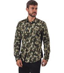 camisa pmp regular camuflado figuras osos verde militar