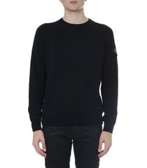 saint laurent black cashmere sweater with logo patch