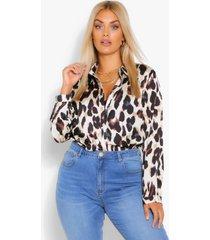 plus satijnen luipaardprint blouse