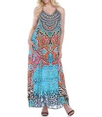 printed t-back beach maxi dress
