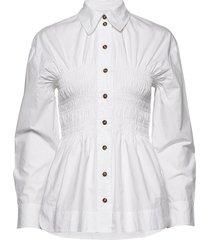 cotton poplin overhemd met lange mouwen wit ganni