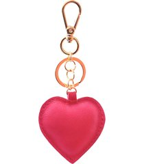 chaveiro couro maria verônica coração rosa