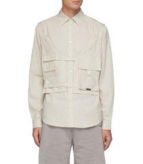 cargo vest patchwork cotton button down shirt