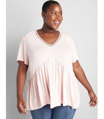 lane bryant women's babydoll max swing tee with neckline trim light pink
