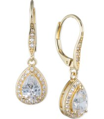 anne klein teardrop crystal and pave drop earrings
