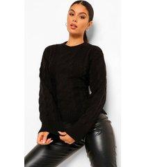 grof gebreide trui met veter rug, black