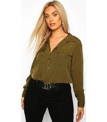 plus utility pocket button through shirt, khaki