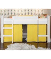 cama elevada com escada e espaã§o para brincar amarela lilies - amarelo/branco - dafiti