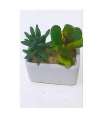 vaso horizontal com suculenta artificial