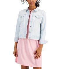 style & co petite light-wash denim jacket, created for macy's