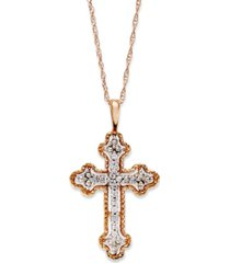 diamond antique cross pendant necklace in 14k white, yellow, or rose gold (1/10 ct. t.w)