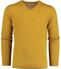 bos bright blue cas v-neck pullover flat knit 19305ca21bo/485 ocher