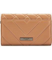 kurt geiger london women's kensington quilt wallet - camel