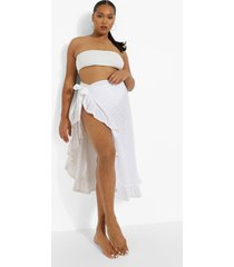 plus broderie strand sarong met ruches, white