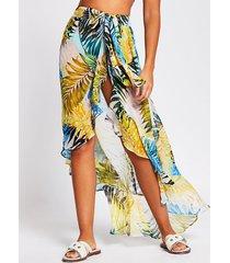 river island womens multi leaf print maxi beach cover up skirt