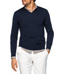 men's suitsupply slim fit v-neck merino wool sweater, size xx-large - blue