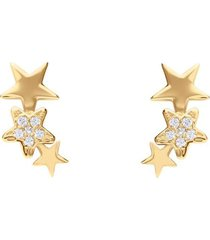 orecchini a lobo in oro giallo con stelle e zirconi per donna