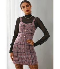 yoins red spaghetti button front lana mini vestido
