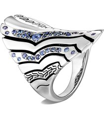 'lahar' blue sapphire silver saddle ring
