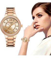 reloj dama moda analogo metalico curren cristal diamante