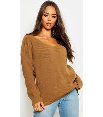 oversized v neck sweater, camel