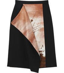 burberry ship print silk panel wool pencil skirt - black