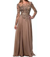 fanmu illusion neck long sleeve beaded evening dress party prom gowns khaki u...