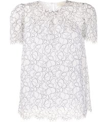 michael michael kors embroidered shift blouse - white