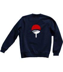 uchiha clan symbol on back naruto unisex crewneck sweatshirt navy blue