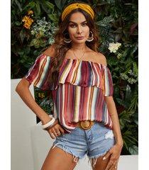yoins blusa con hombros descubiertos y ribete de volante de rayas al azar multicolor