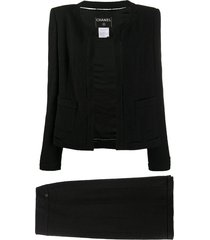 chanel pre-owned 2003 skirt suit - black