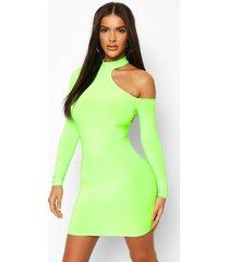 neon cut out bodycon mini dress, neon-green