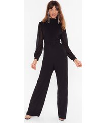 womens you should be dancing high neck belted jumpsuit - black