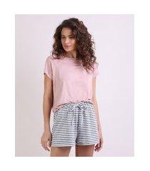 pijama feminino com listras manga curta rosa