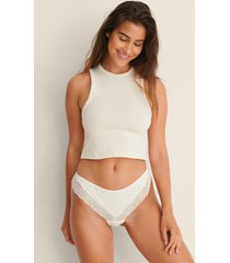 na-kd lingerie mjukt ribbstickad trosa med spets - offwhite