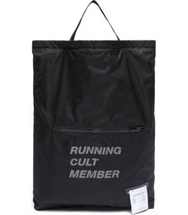 'run in peace' slogan print drawstring backpack