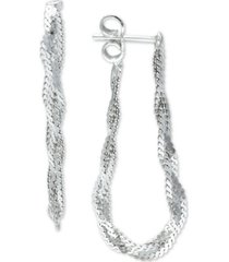 giani bernini braided chain front & back earrings in sterling silver, created for macy's