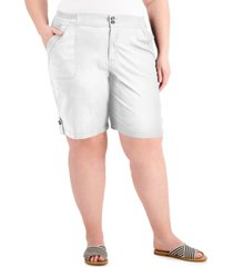 karen scott plus size button-tab-hem shorts, created for macy's