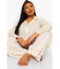 plus gestreepte pyjama set met biezen, light stone