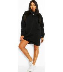 plus oversized basic sweat dress, black
