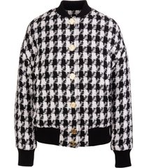 balmain woman white and black bomber jacket in pied de poule tweed