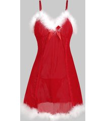faux fur sheer mesh christmas hat t back plus size babydoll
