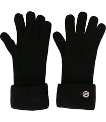 hermès pre-owned toggle detail knitted gloves - black
