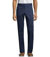 saks fifth avenue men's flat-front stretch-cotton pants - navy - size 42 r