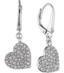 dkny crystal heart drop lever back earrings, created for macy's